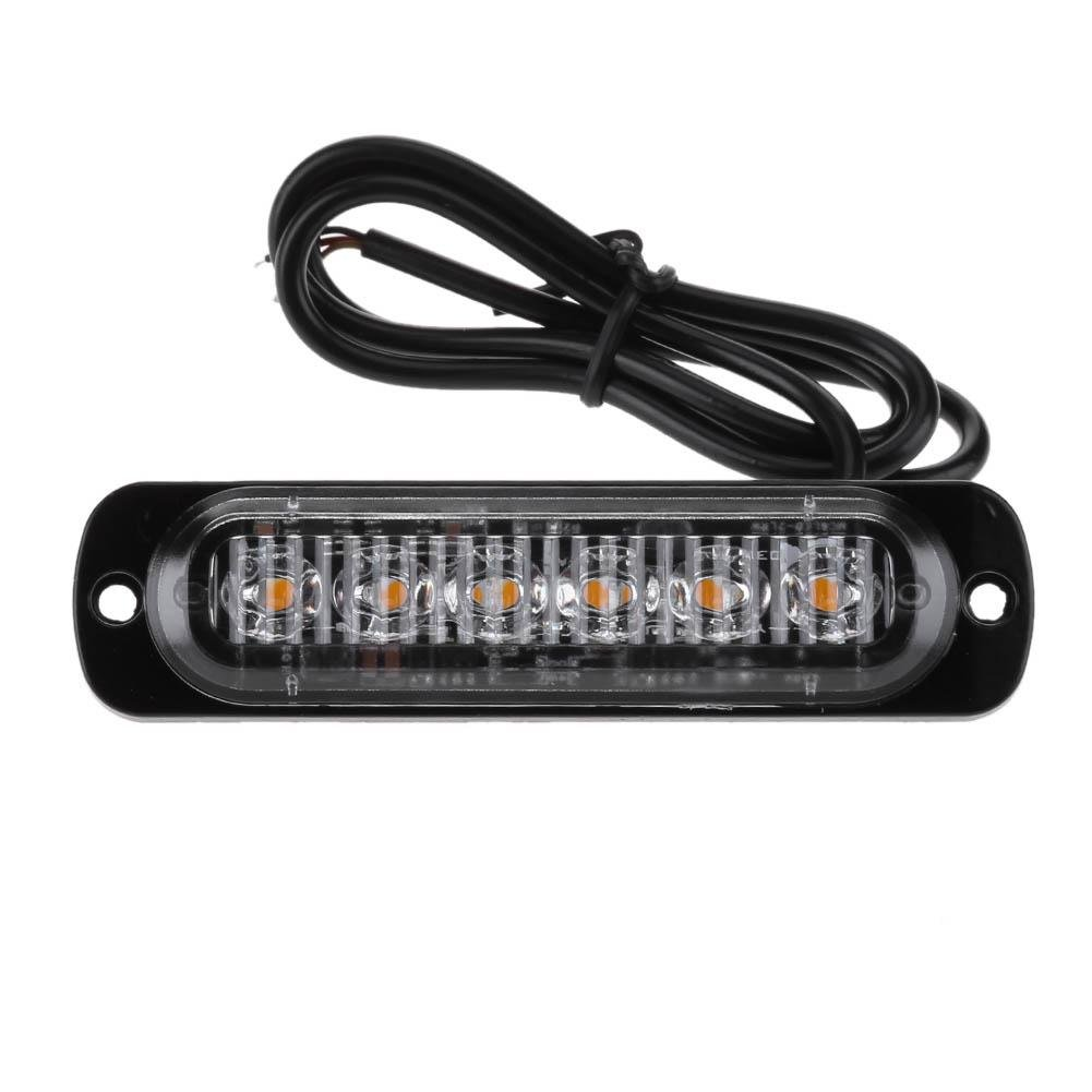 Nelnissa 12  –   24  V 6LED Slim flash Light bar auto veicolo di emergenza luce stroboscopica