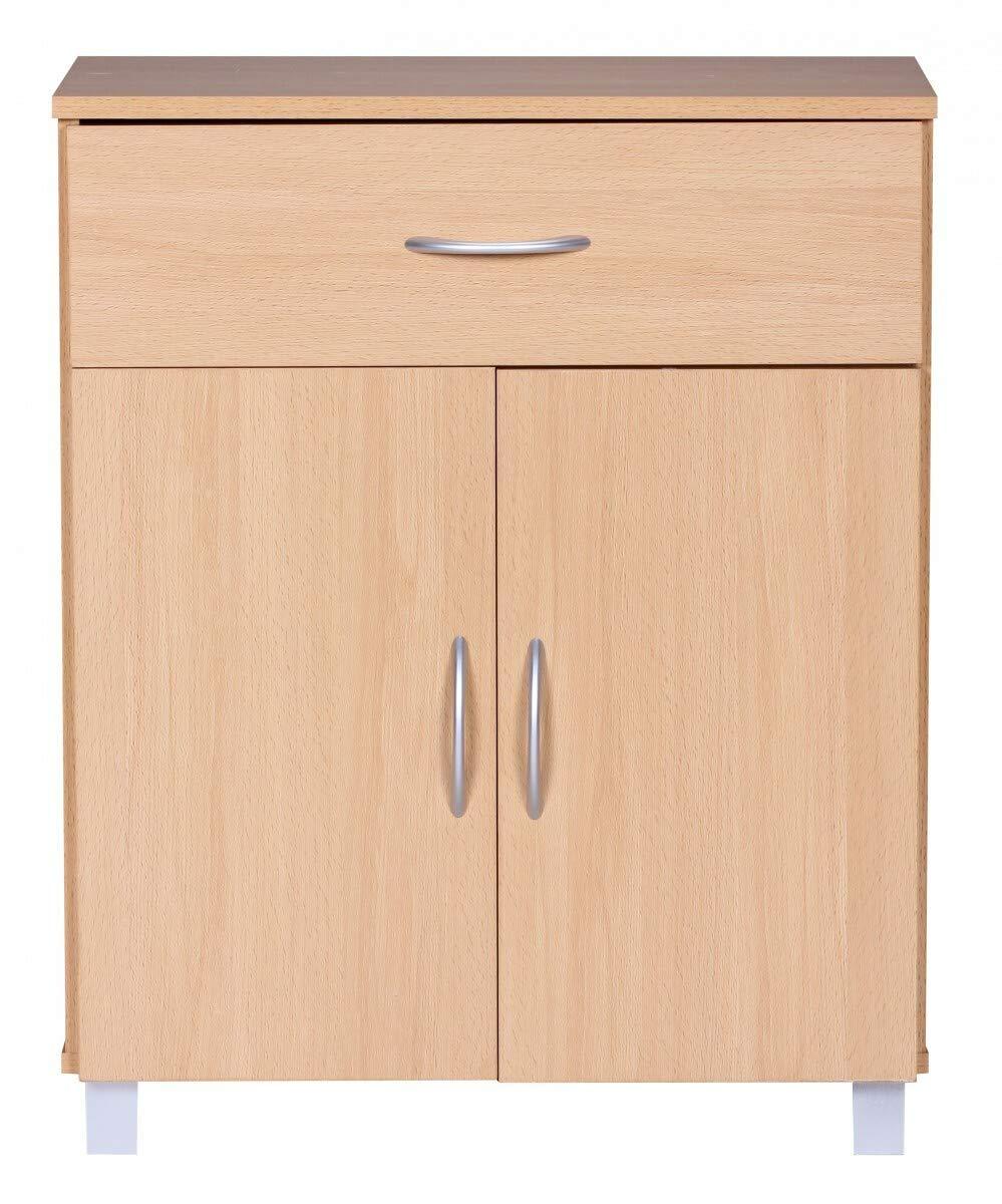 KS-Furniture 60 x 75 x 30 cm con Maniglie Credenza Lena in Legno di faggio con 1 cassetto e 2 Ante