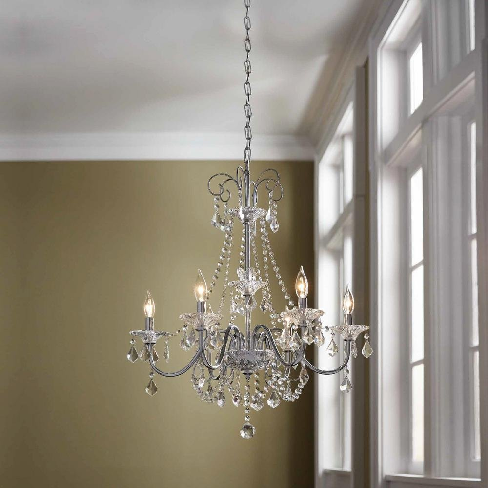 Com Canterbury Park Collection 6 Light Chrome Crystal Chandelier Home Kitchen