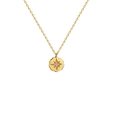 e28cee516a199 Mevecco Compass Disc CZ Rose Gold Pendant Necklace 18k Gold Plated Dainty  Sparkling Star Engraved Hammered Tiny Necklace for Women