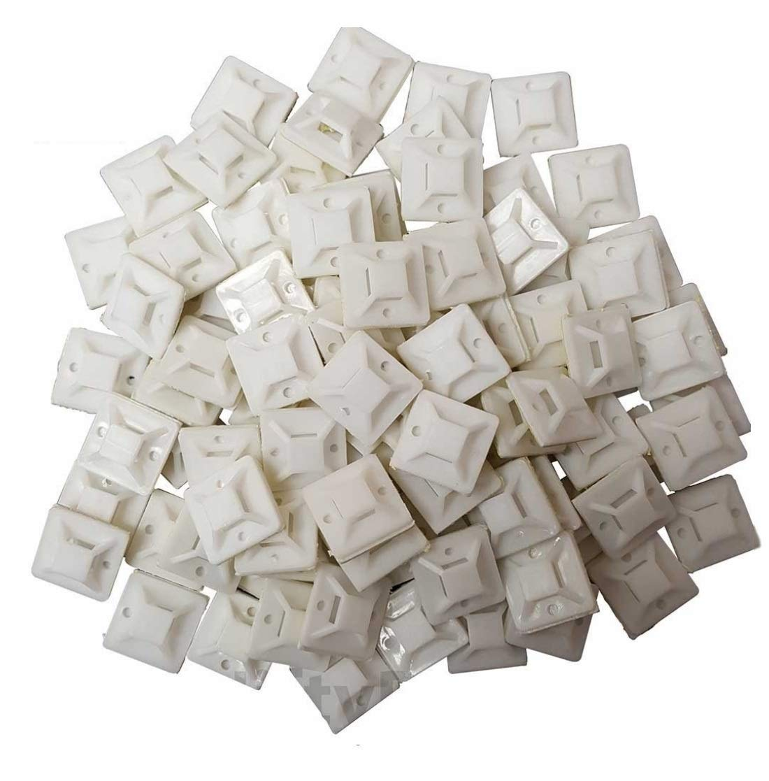 1.1 Cable Tie Mounts Self ADHESIVE Clips Base 100 Pack 30x30 mm Premium Grade Strength 100 White Cable Tie Mounts