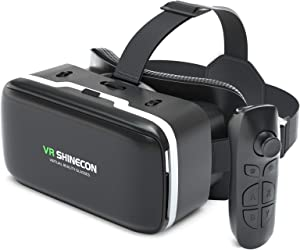 VR Headset for iPhone and Android with remote controller, 3D VR Virtual Reality Gaming Glasses set, Best Virtual Reality Goggles VR Headset for Kids & Adults, Soft and Comfortable Adjustable Distance.