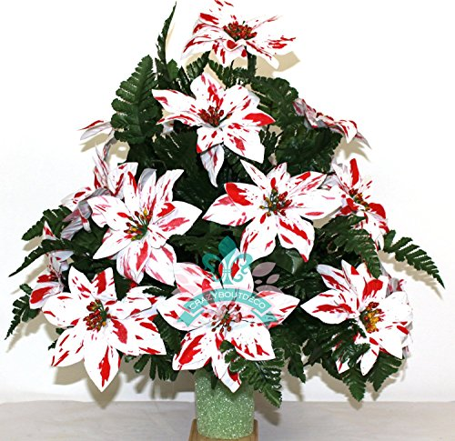 Christmas XL Artificial Peppermint Poinsettia Cemetery Flower Headstone Standard 3 -Inch Vase Grave Decoration