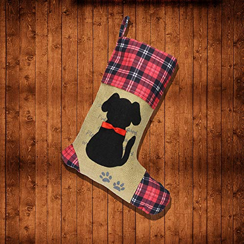 Wendsim Christmas Stocking for Pet Dog Cat with Red Bowknot Pet Stocking for Personalize]()