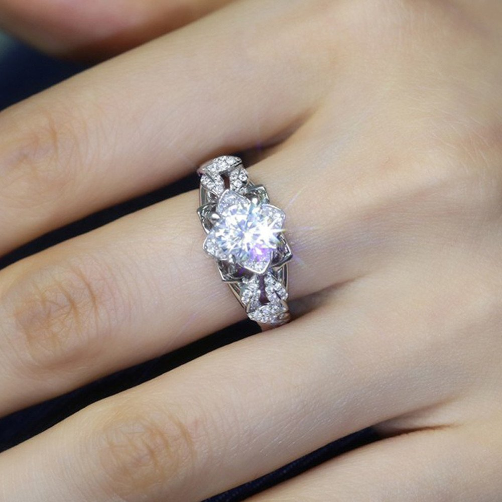 2019 New Fashion Rose Engagement Ring Female Flowers with Tiny Zircon Ring Jewelry Valentines Day Gifts for Girlfriend Boyfriend