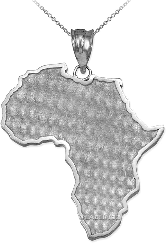 Silver Africa Continent Outline Map Pendant Necklace With Chain