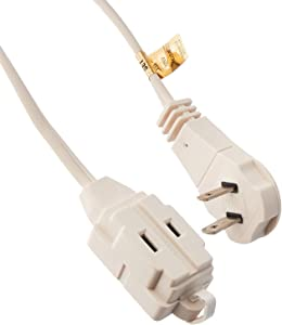 General Electric 50360 4 Pack 6ft. 2-Outlet Wall Hugger Extension Cord, White