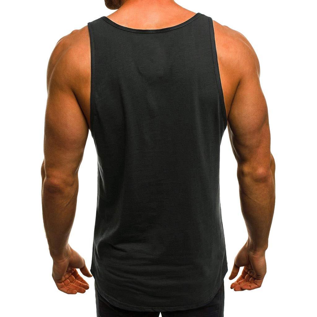 VICCKI Fashion Mens Casual Slim Letter Printed Sleeveless Tank Top T Shirt Top Blouse