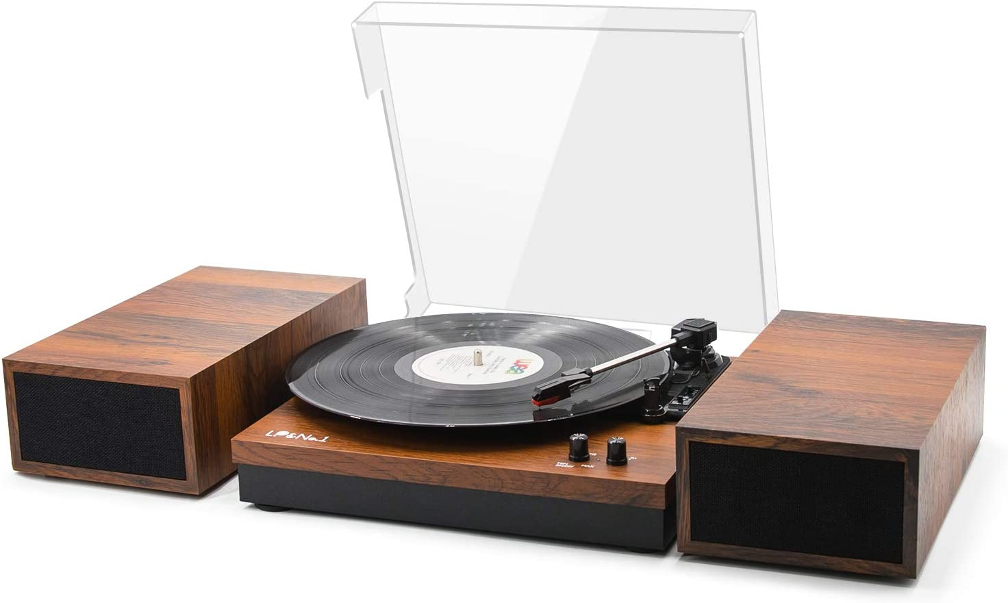 LP&No.1 Retro Belt-Drive Bluetooth Turntable with Stereo External Speakers, 3 Speed Vinyl Record Player for 33⅓,45 ,78 RPM Record,Light Brown