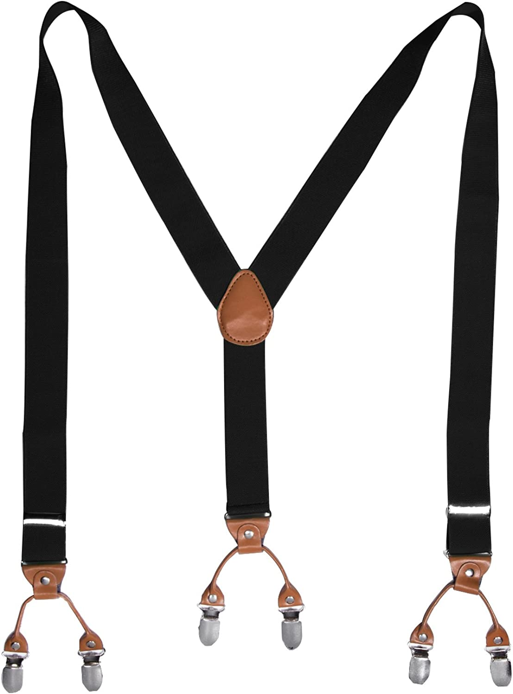 HBF Bretelle Uomo Eleganti con Papillon Nero 6 Clip Bretelle Righe Vintage Adatto per Donna e Uomo Bretelle elastiche Forma di Y