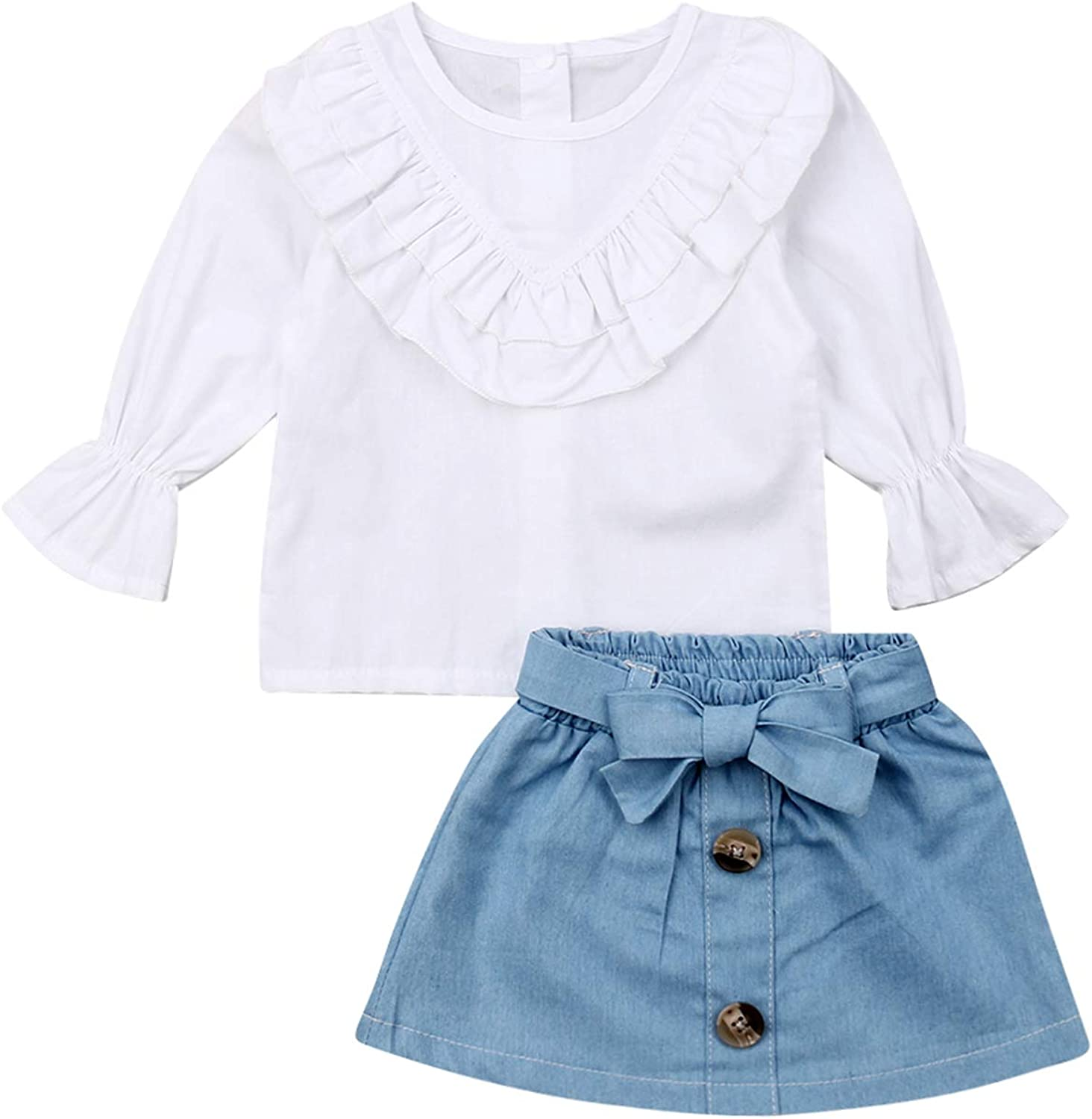 Toddler Baby Kids Girls Formal Casual Outfits Ruffle T Shirt Tops Short Denim Skirts Summer Clothes Sets