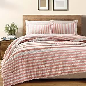11 piece queen koro 100 cotton seersucker bed in a bag set red home kitchen. Black Bedroom Furniture Sets. Home Design Ideas