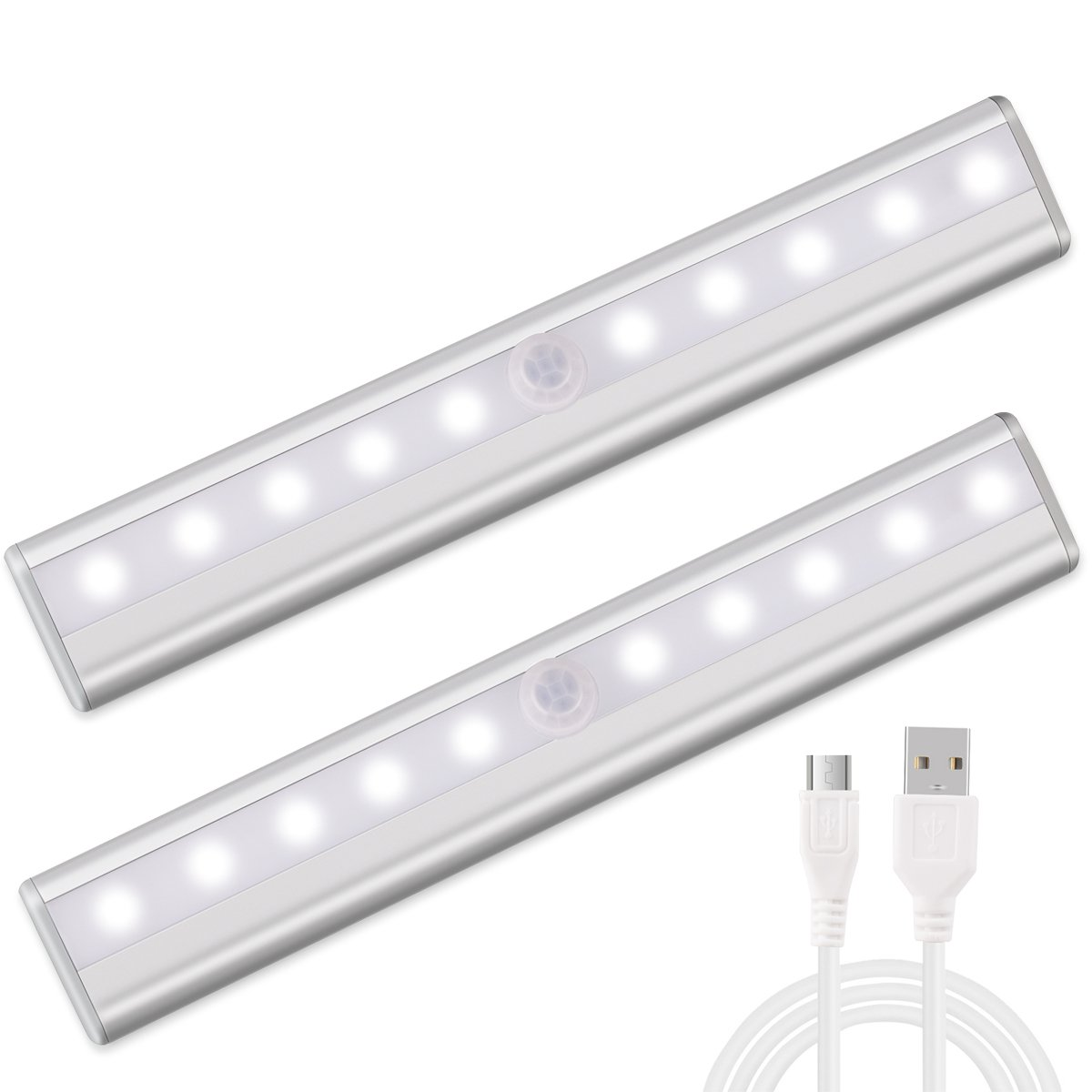 Morpilot Motion Sensing Closet Led Lights, Stick-on Anywhere Portable Wireless USB Rechargeable Cabinet Night Stairs Step Light Bar with Magnetic Strip (10 LED)