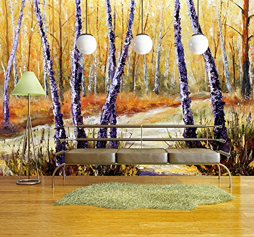 Birch Trees in a Sunny Forest Palette Knife Artwork Impressionism Art
