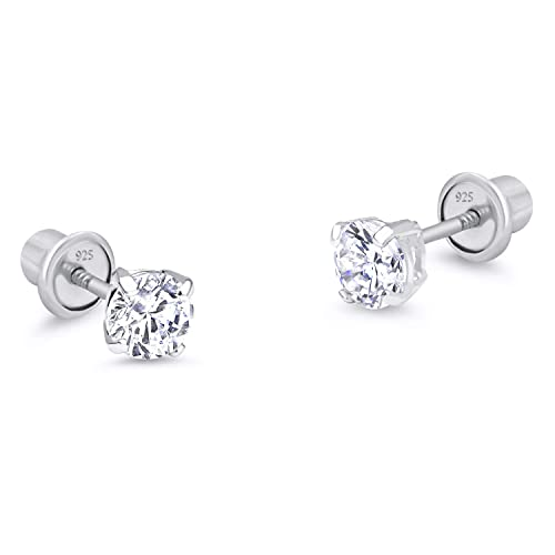 e204b457a 925 Sterling Silver Rhodium Plated 3mm Cubic Zirconia Stud Children  Screwback Baby Girls Earrings