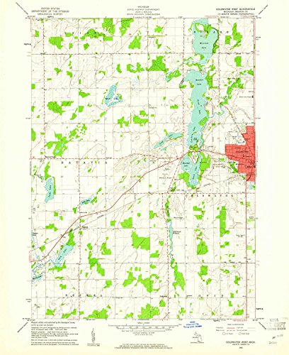 YellowMaps Coldwater West MI topo map, 1:24000 Scale, 7.5 X 7.5 Minute, Historical, 1960, Updated 1961, 26.9 x 22 in - Polypropylene