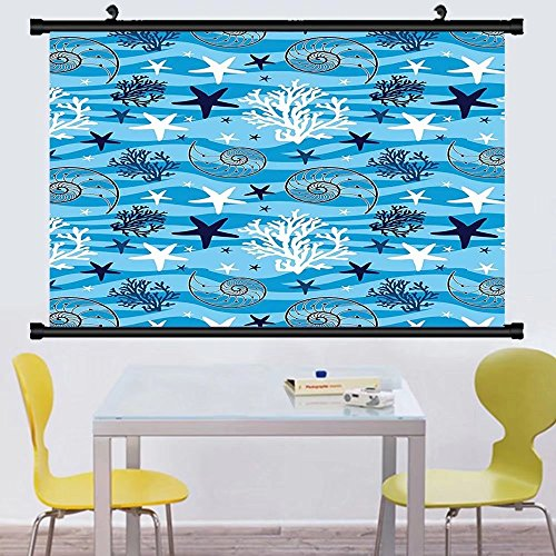 Gzhihine Wall Scroll Seashells Decor Wall Hanging Seashells On The Beach Cartoon Decorative Fun Artwork Coast Relaxation Water Waves Shore Decor - Beach The Broadway On Map
