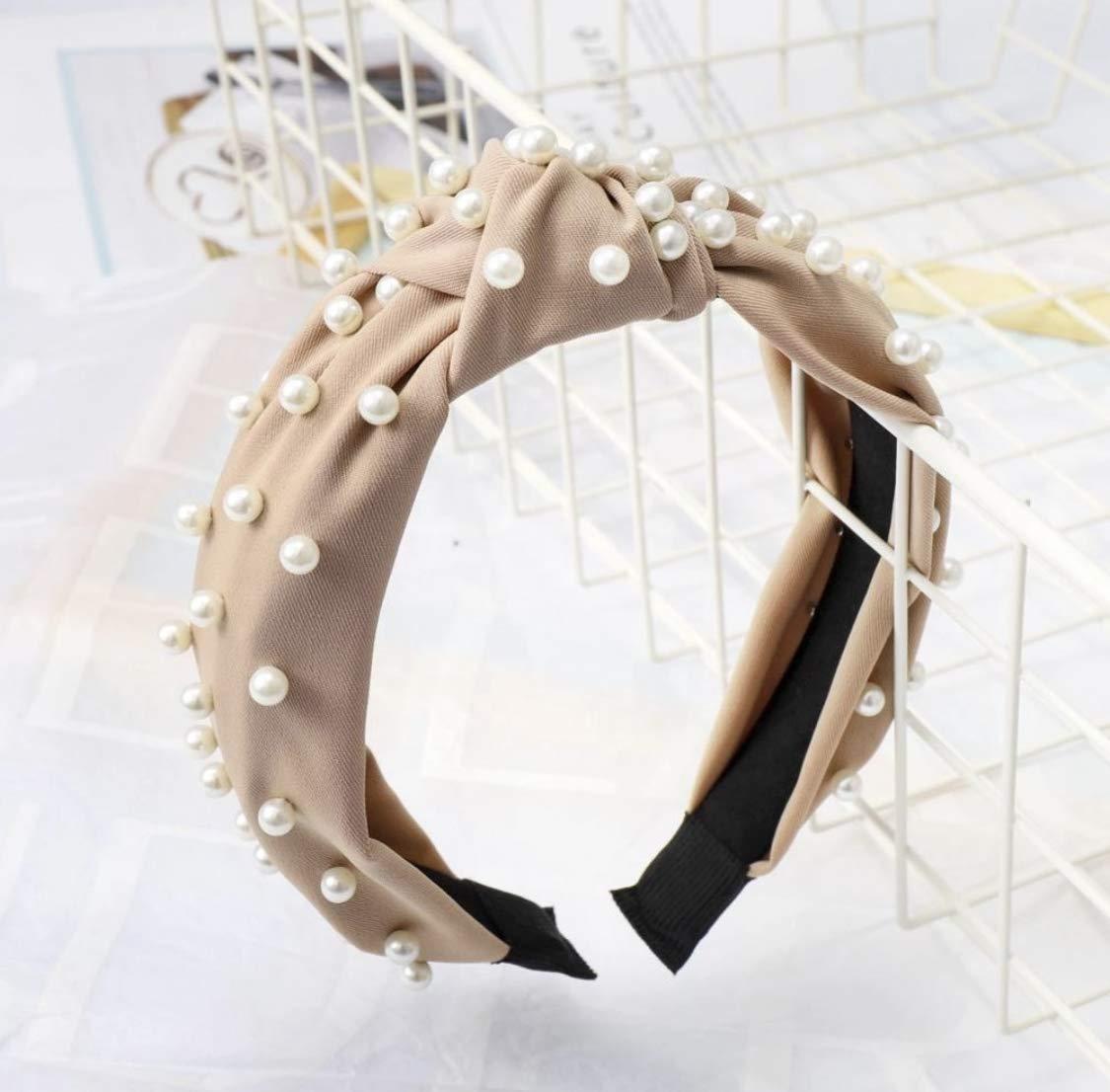 Satin Top-knot Pearl Embellished Headband (Satin Beige)