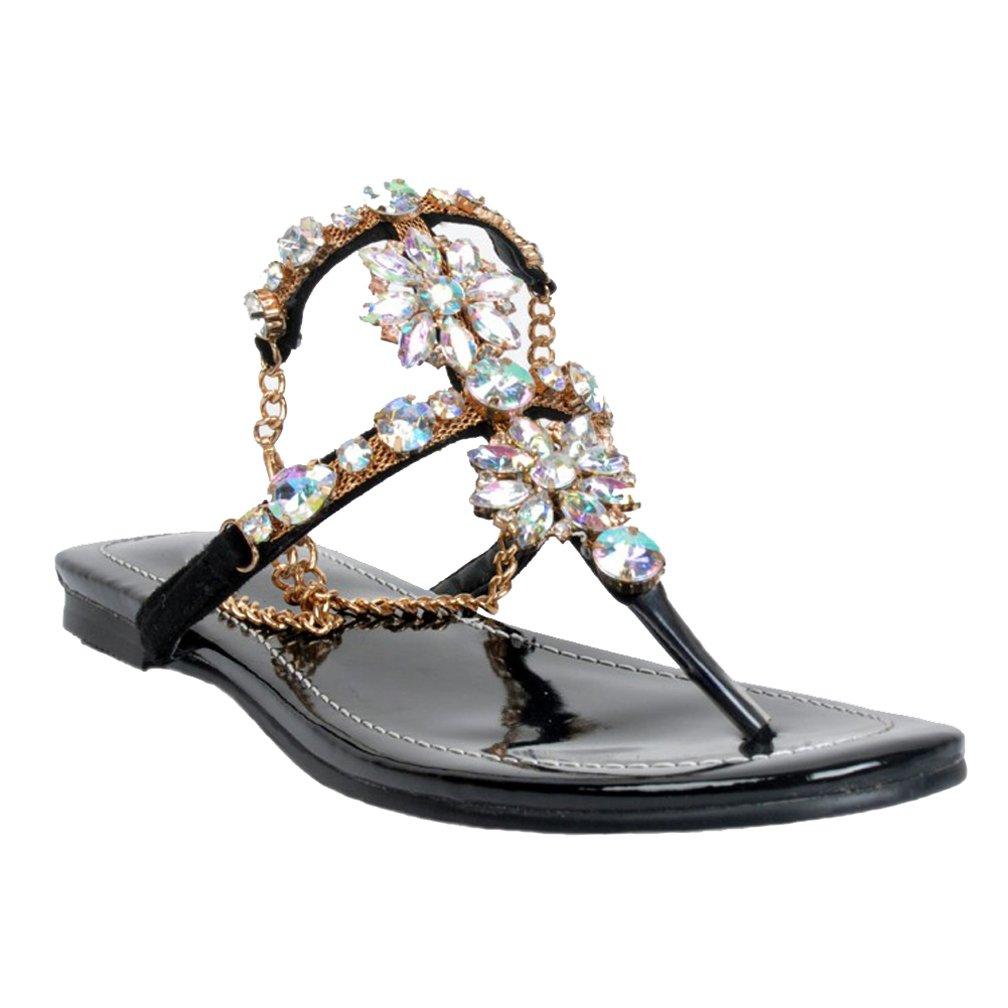 CASSOCK Ladies Handmade Simple Flats Shoes Rhinstone Deco Summer Flat Sandals