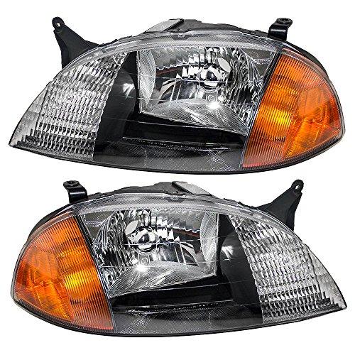 Driver and Passenger Headlights Headlamps Replacement for Chevrolet Suzuki 91175607 91175606 AutoAndArt