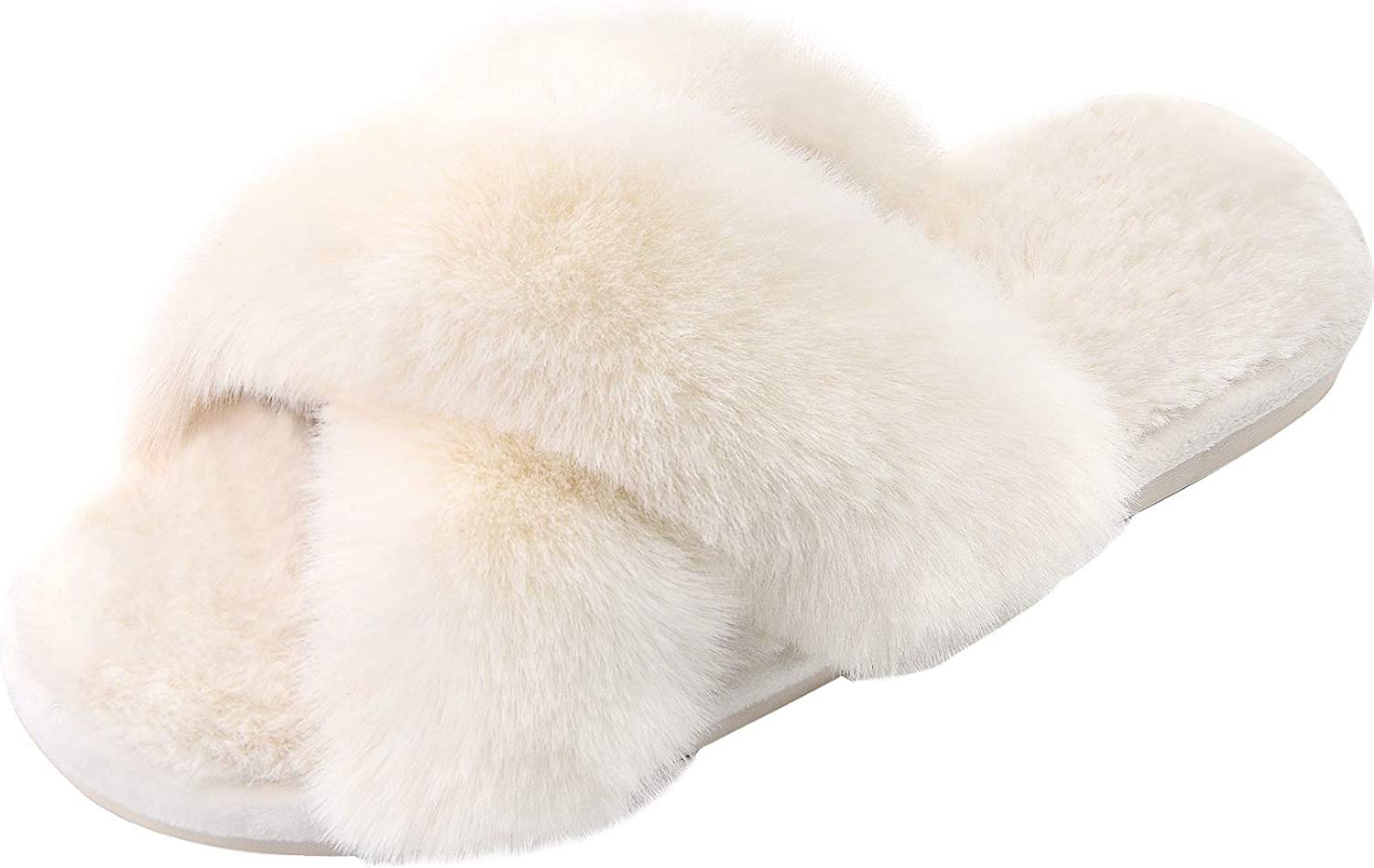 Women's Cross Band Slippers Soft Plush Furry Cozy Open Toe House Shoes Indoor Outdoor Faux Rabbit Fur Warm Comfy Slip On Breathable