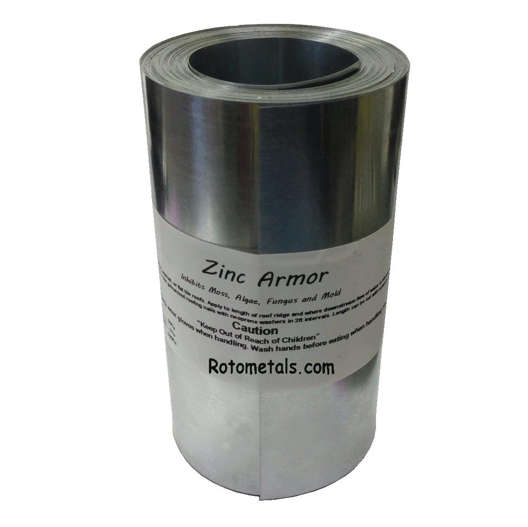 Zinc Roof Armor - 6 inches Wide Zinc Strip, 1-roll of 50 Feet Prevent Algae, Moss, Fungus & Mildew