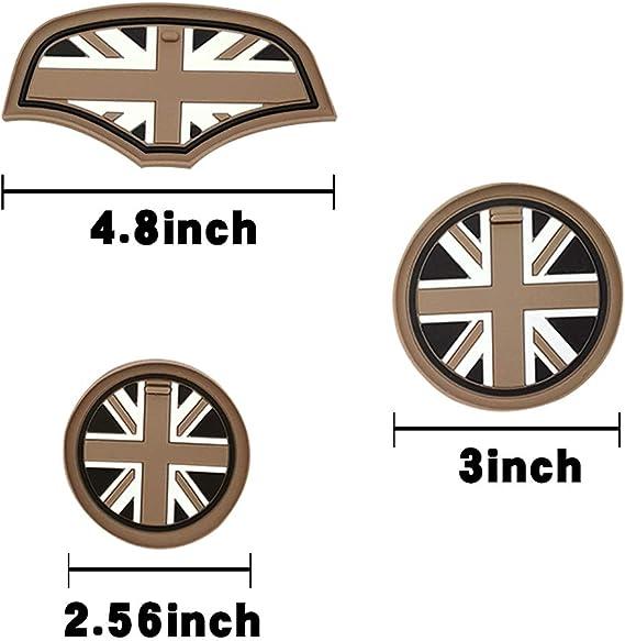 Bar Autotech 4 Stück Weiche Silikon Union Jack Stil Becherhalter Untersetzer Und Aufbewahrungsbox Matte Für Mini Cooper F55 F56 Auto