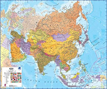 Asia On A Map Of The World.Maps International Asia Wall Map Laminated
