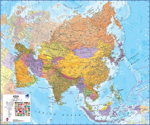 Asia Political 47 X 39 Laminated Map