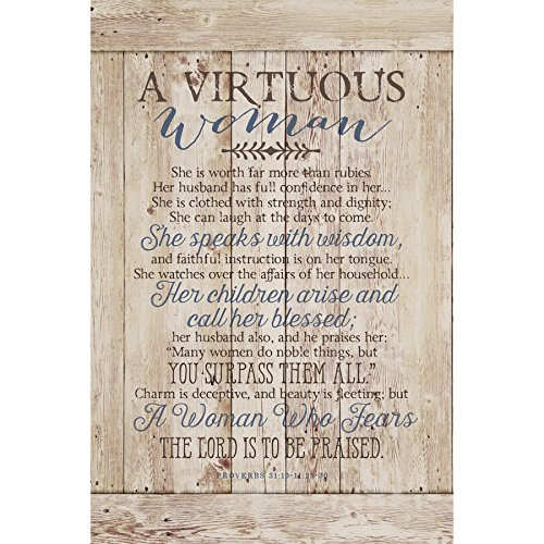Virtuous Woman Wood Plaque with Inspiring Quotes 6x9 - Classy Vertical Frame Wall & Tabletop Decoration | Easel & Hanging Hook | She is Worth far More Than Rubies. She Speaks with Wisdom (Bible Verse On Beauty Of A Woman)