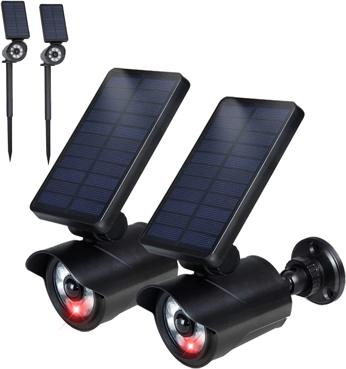 2021 Motion Sensor Solar Security Lights Outdoor 2-in-1 Landscape Spotlights Wall Lights Dummy Camera with Flashing Red LED for Yard Garden Driveway Pool Patio 2 Pack