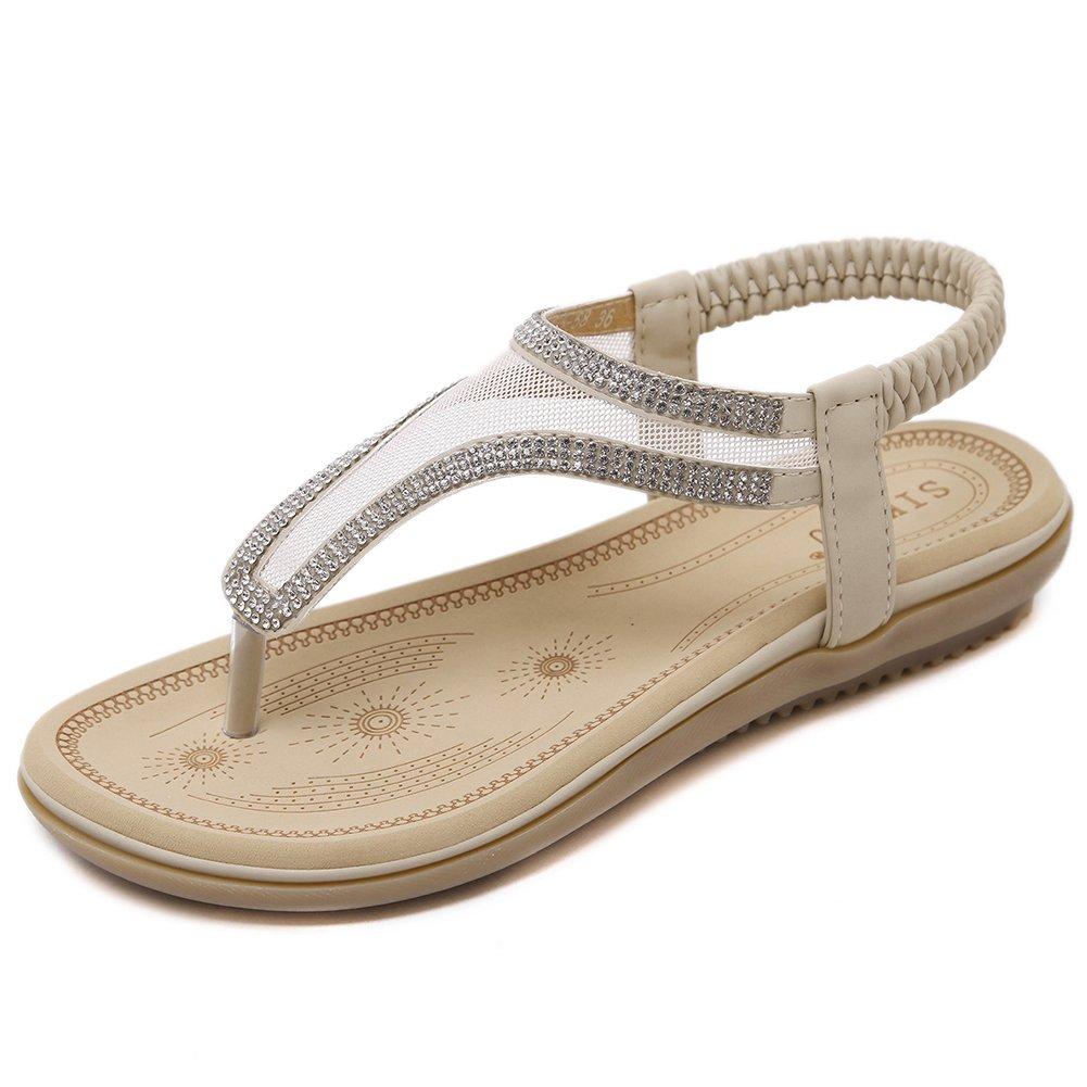Dreamone Damen Sandalen Strass Zehentrenner Sommer Flach Strand Schuhe Sandaletten Gr34-40  Gr??e38 = 37EU|Beige