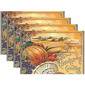 Naanle Holiday Thanksgiving Placemat Set of 6, Pumpkin Heat-resistant Washable Table Place Mats for Kitchen Dining Table Decoration