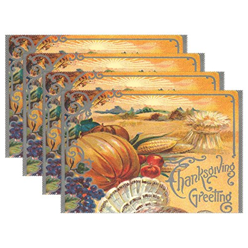 Naanle Holiday Thanksgiving Placemat Set of 6, Pumpkin Heat-resistant Washable Table Place Mats for Kitchen Dining Table (Thanksgiving Placemat)