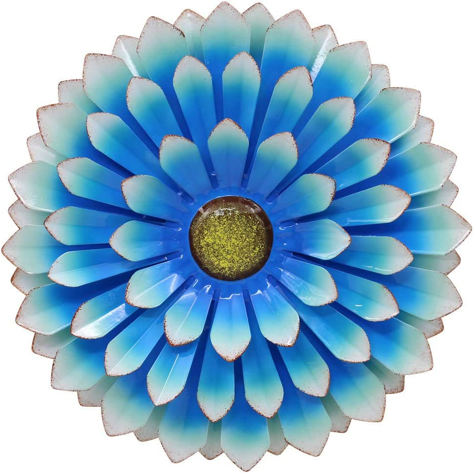 LIMEIDE Large Metal Flower Outdoor Wall Decor Garden Hanging Decoration Iron Floral Wall Art for Balcony Patio Porch Bedroom Living Room Office 14.2 inches (Blue)