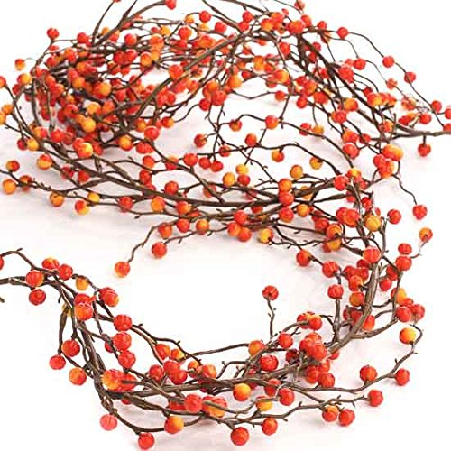 Decorative Artificial Autumn Variegated Yellow and Orange Berry Garland for Decorating, Designing and Home Decor by Fall Accents