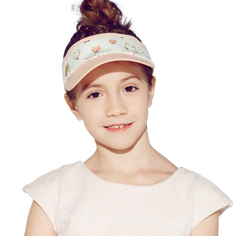 Kenmont Girls Kids Summer Topless Visor Sun Hat Outdoor Sports Topee Cap (Orange)