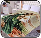 """75""""Wx90""""H Blanket, religious Jesus 's , St Jude,Korean mink . year round,Warm, washable, Durable, Cashmere -like velvet bed cover by Hiyoko"""