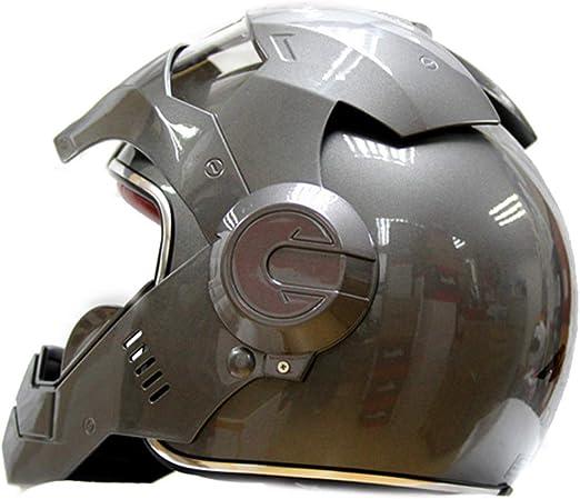 LSLVKEN Man Iron Man Helmet Marvel Avengers Autostrada Casco Professionale per et/à Cuffia SUV Grigio,S