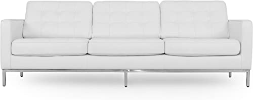 Kardiel Florence Mid-Century Modern 89 Leather Sofa, White Top Grain Aniline