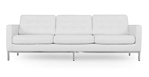 Kardiel Florence Mid-Century Modern 89 Leather Sofa, White Top Grain Aniline