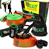 Slackline Kit con línea de entrenamiento – Protectores de árbol + cubierta de carraca – Kit completo de línea de escarcha ideal para la familia al aire última intervensión saludable diversión – fácil de configurar 50 pies Slacklines Balance correa