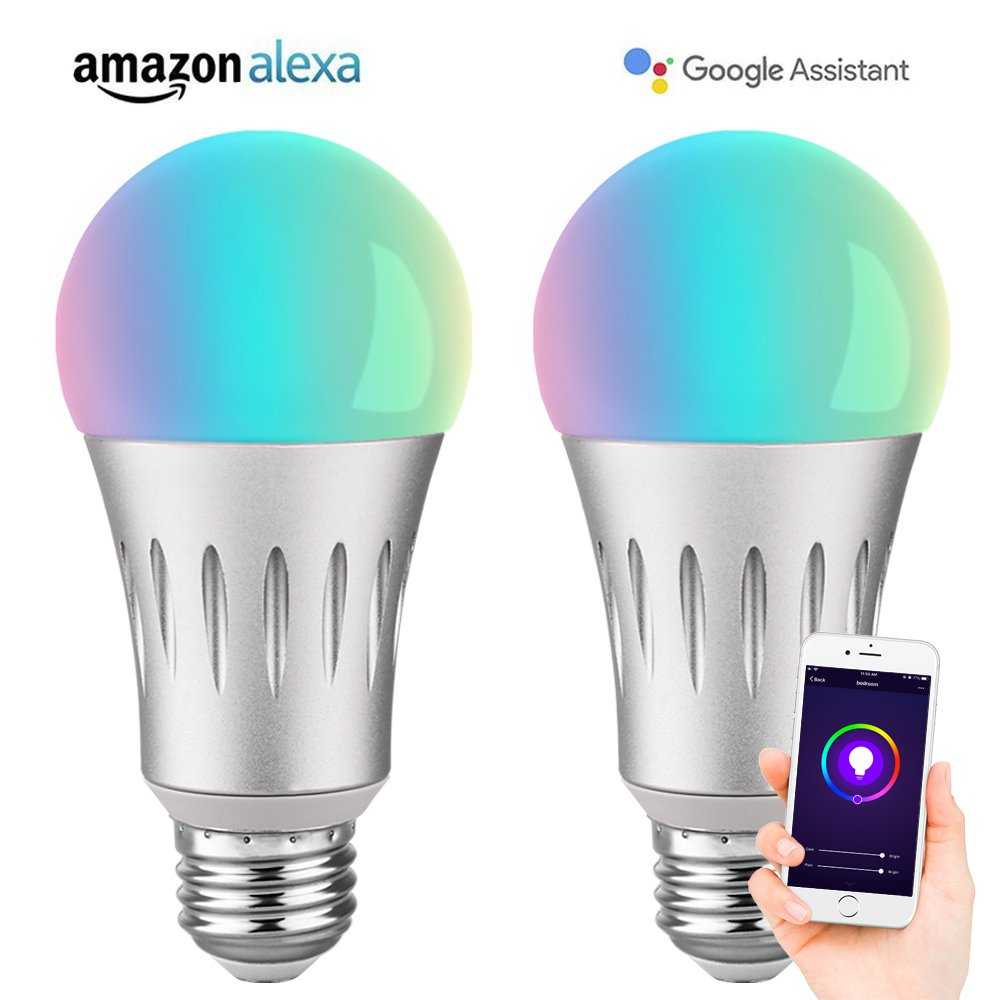 Brizled Smart Light Bulbs, A19 60W Equivalent Smart Bulb, Dimmable Warm White and Color Ambience WiFi Light Bulbs, No Hub Required LED Bulbs, Work with Alexa and Google Assistant, E26, 600LM, 2 Pack