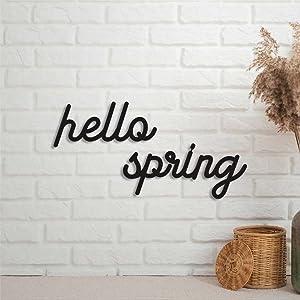 EricauBird Hello Spring Metal Sign Custom Monogram Letter Wall Decor Sign Personalized Rustic Door Hanger Black Sign for Housewarming Gift Indoor Outdoor Anniversary