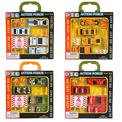 Super Fun Action Forces Vehicle Set by ArtCreativity - Includes 12-pc Army Fleet, 12-pc Police Fleet, 12-pc Rescue Fleet, & 12-pc Emergency Fleet- Packed for Easy Portability- Great Gift Idea for kids