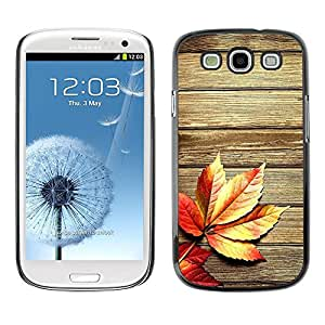 Caucho caso de Shell duro de la cubierta de accesorios de protección BY RAYDREAMMM - Samsung Galaxy S3 I9300 - Autumn Wood Grain Texture Lines Rustic