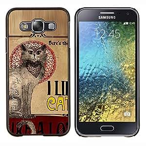 TECHCASE---Cubierta de la caja de protección para la piel dura ** Samsung Galaxy E5 E500 ** --Gatos Quote Art Gato oriental gris