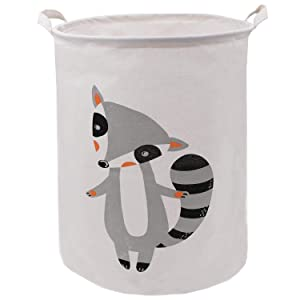 Extra Large Grey Fox Laundry Basket 19.7x15.7 Inch, ZUEXT Canvas Storage Basket with Handles, Fabric Boys Toys Bin, Foldable Waterproof Baby Gift Basket for Nursery College Dorms Kids Bedroom Books