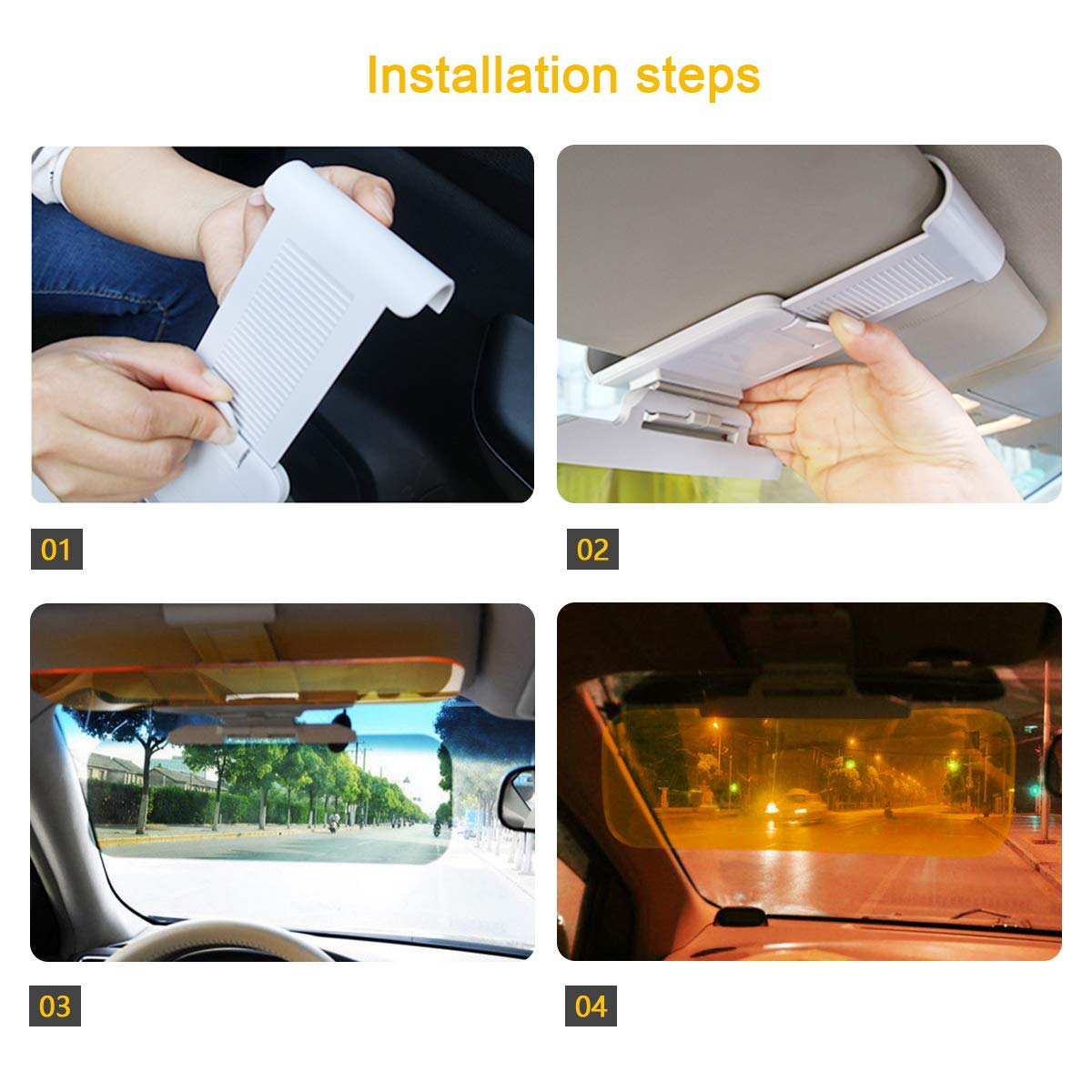 Anti-glare visor Car Anti-Glare Windshield Sun Visor Extender 2 in 1 Day and Night Driving Visor for Protects Against UV rays Headlights Tailgates Reduces Eye Strain