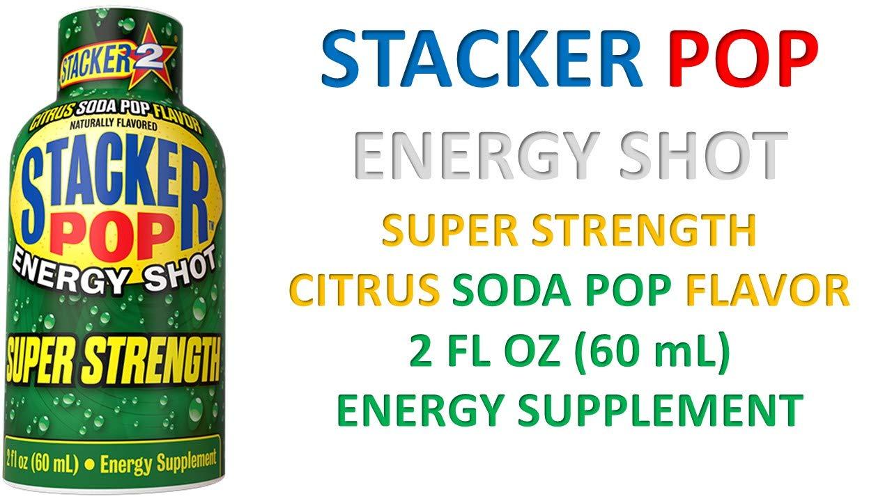 Stacker Pop Energy Shot Super Strength Citrus Soda Pop Flavor 2 fl oz (12 Bottles) by STACKER 2